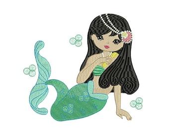 Beautiful Mermaid Machine Embroidery File design 7x12 inch or 18x30cm hoop mermaid in the hoop embroidery - instant download