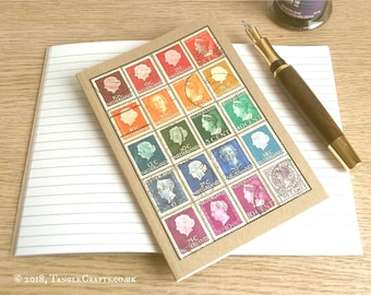 Netherlands Travel Notebook | Postage Stamp Journal A6 | Recycled Rainbow, Upcycled Stamp Album | Multicolour Colourful Eclectic Office Gift