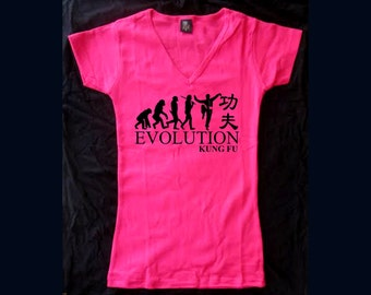 Kung fu evolution martial arts customized pink v neck women/teens t-shirt