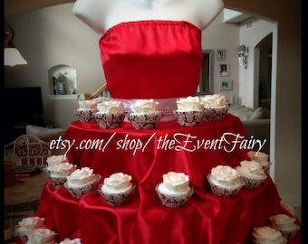 Red Dress Couture Cupcake Stand for birthdays. parties, bridal showers, quinceaneras