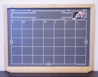 "Black ""Southwestern Chalkboard"" Style Whiteboard Calendar - Framed Dry Erase Calendar - Personalized Chalkboard Wall Calendar / Organizer"