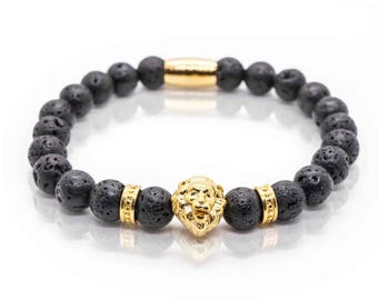 Lava Lion Gold Bracelet, Lavastone Gemstones with gold Lion