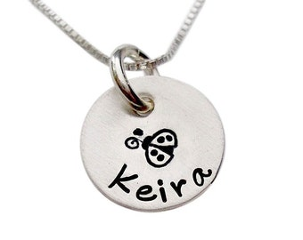 Personalized Hand Stamped Sterling Silver Name and Design Necklace