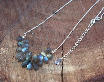Natural Labradorite Cluster Necklace / 925 Sterling Silver Necklace / Gemstone Necklace / Teardrop Cluster Necklace / Feb - March Birthstone