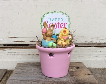 AGD Easter Decor - Happy Easter Bunny and Chick Pink Display