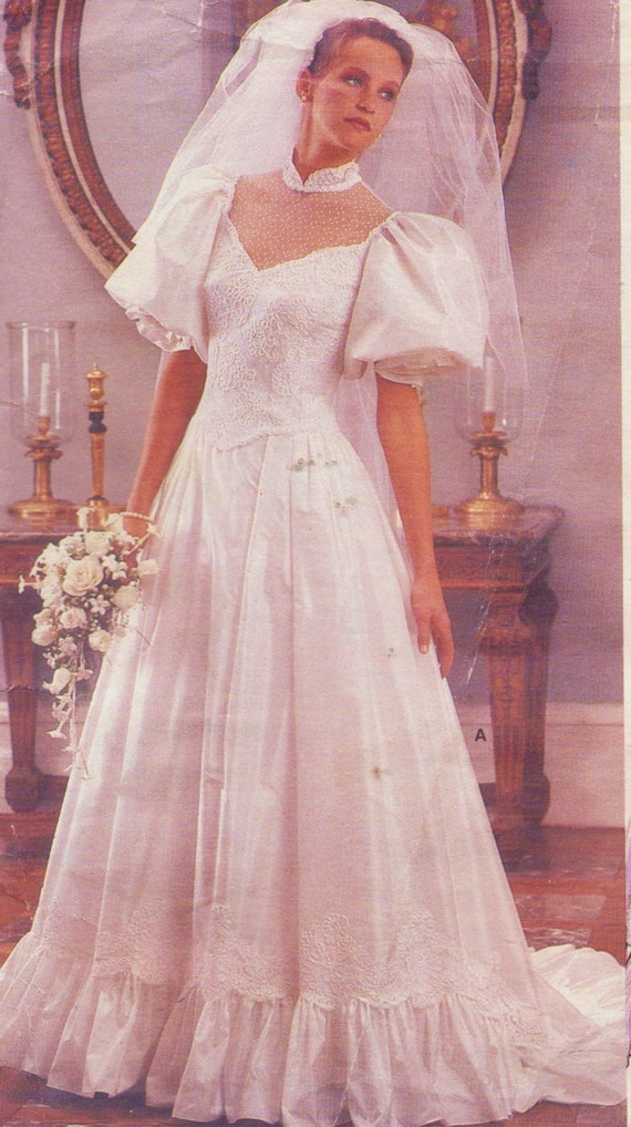 80s Womens Wedding Gown with Chapel Train Vogue Bridal Original ...