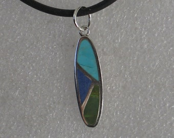 Jewelry Rescue Sterling Silver and Turquoise  Lapis Inlay Vintage Oval Pendant 32mm