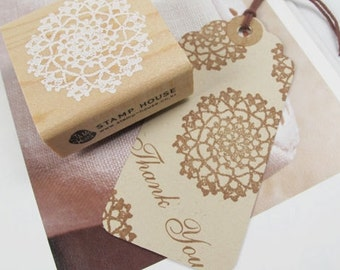 Round Doily Lace Rubber Stamp