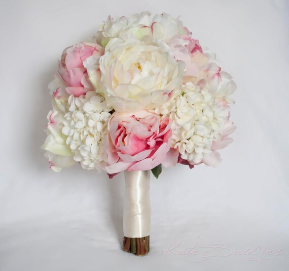 ivory and blush peony and hydrangea wedding bouquet. Black Bedroom Furniture Sets. Home Design Ideas