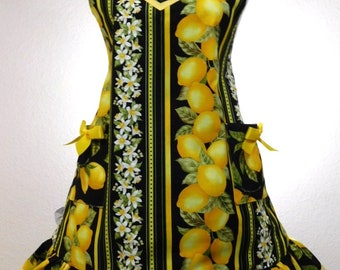 When Life Gives you Lemons....black and yellow retro apron