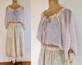 Vintage 70s Koos Van Den Akker 3 piece peasant set, peasant blouse, peasant skirt