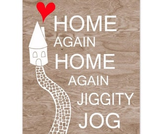Brown Woodgrain Faux Bois White House and Red Heart  with Stone Path Typography Art Print  -  8 x 10 - Home Again