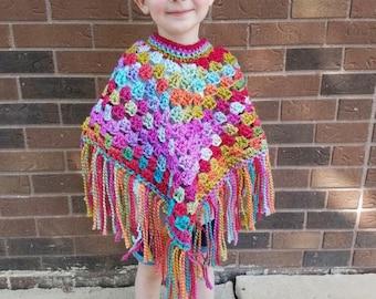 Rainbow Poncho, Baby Poncho, Toddler Poncho, Poncho, Rainbow, Colorful Poncho