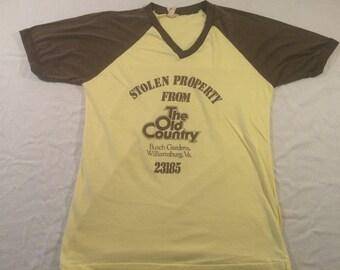 XL 80's Busch Garden's The Old Country Williamsburg men's T shirt vintage 1980's brown yellow Stolen Property 23185
