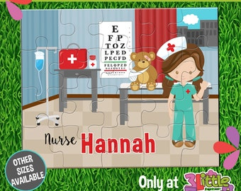 Girl Nurse Puzzle - Personalized 8 x 10 Puzzle - Personalized Name Puzzle - Personalized Children Puzzle - 20 pieces Puzzle - Doctor Party