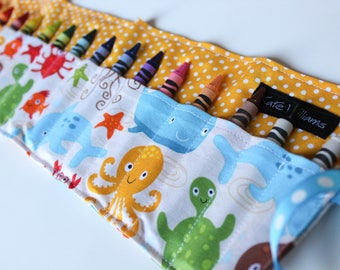 Summer Trip Travel Toy-Crayon Roll-Easter Basket Gift-Under the Sea Animals-Cruise Travel Toy-Gender Neutral Child Gift-Crayons