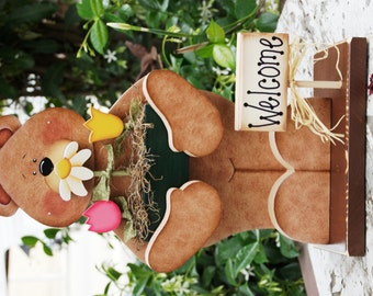 "May - Flowers with Flower Box for Seasonal ""Huggy"" Bear  - Wood Welcome Shelf Sitter"