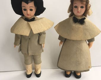 Pair of Vintage Carlson Historical Pilgrim Boy and Girl Dolls - Unmarked Celluloid Sleepy Eyes Collectible Dolls - 1960's