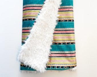 Dream Blanket Tribal Linen Stripe. Baby Blanket. Faux Fur Blanket. Lovey. Minky Baby Blanket. Teal Blanket. Tribal Baby Blanket.