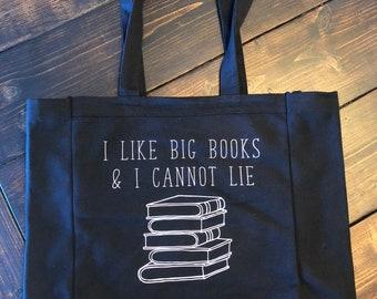 I Like Big Books Tote Bag, Library Bag, Tote Bag, Canvas Tote Bag