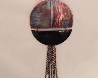 Contemporary Heated  Copper Enamel Pendant Necklace