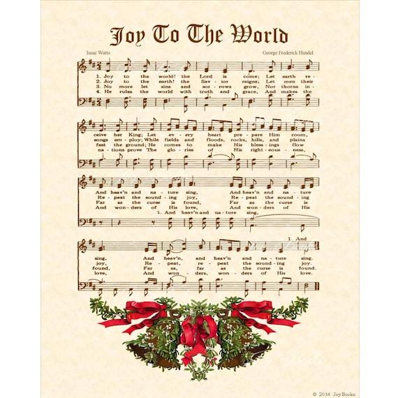 Items similar to JOY To The WORLD Christian Holiday Home Decor Vintage Verses Sheet Music Wall ...
