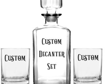 Personalized Custom Whiskey Glasses & Decanter, Gift for Men, Whiskey Set, Whiskey, Custom Decanter, Bourbon, Etched Whiskey Glass