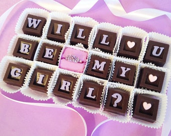 Will You Be My Girlfriend Chocolates and Gemstone Ring - Unique Chocolate Girlfriend Gift - Gift for Her