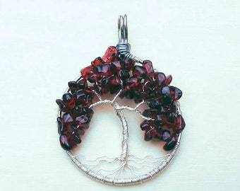 Garnet Tree of Life Pendant, Silver Wire Wrapped Tree Pendant, Garnet Jewelry, Red Tree Pendant