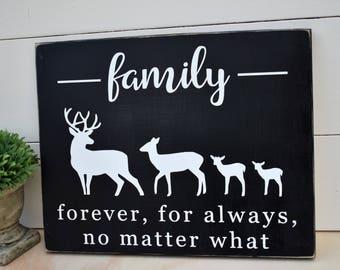 Family Sign - Deer Family Sign - Christmas Gift - Deer Decor - Rustic Sign - Farmhouse Decor - Family Gift - Gift for Mom