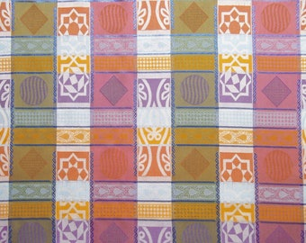 Oriental rosettes and multicolored metallic plaid fabric / top quality