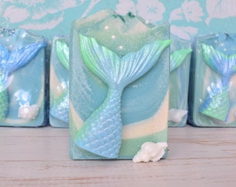 MERMAID SOAP with shell,mermaid tail soap,mermaid tail,shell soap,ocean soap,under the sea,party favors,nautical birthday,kids children soap