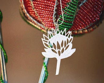 Protea pendant made from white acrylic