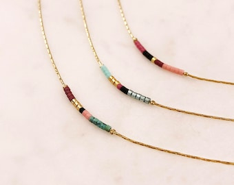 Thin Minimalist Gold Necklace with Tiny Beads / Delicate Dainty Short Layering Necklace / Colorful Simple Boho Necklace Lovely Gift for Her