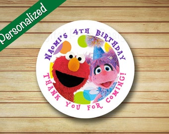 40 PRINTED Elmo and Abby Birthday Party Labels Sesame Street Rounded Stickers Personalized Elmo & Abby circle labels Toppers Favor Bag Label