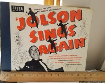 Al Jolson Vintage Decca Vinyl Records-1949 Four Record Set-Vintage Music Lover's Jazz Collectible Home Decor-Early American Show Tunes
