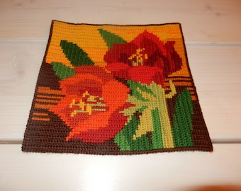 Swedish hand embroidered wall hanging 1960  s  / flowers