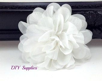 White chiffon scalloped flower - diy headband - fabric flowers - wholesale flowers - hair bow supplies - silk flowers - flower wholesale