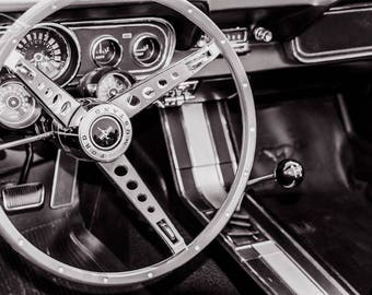 1966 Ford Mustang Steering Wheel & Dashboard Car Photography, Automotive, Auto Dealer, Mechanic, Boys Room, Garage, Dealership Art