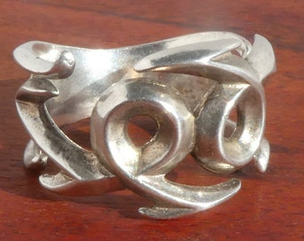 Sterling Silver Sand Cast Ring, Size 9.25