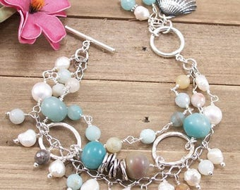 Amazonite, Freshwater Pearl, Sterling Silver Bracelet w/ PMC Metal Clay Sea Shell Charm