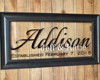 Personalized Glass Family Name Sign Picture Frame Established Family Sign 11x21