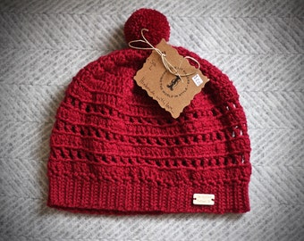 Cranberry Red Hand-crocheted Beanie with PomPom | Size Small | Cozy Soft Ribbed Winter Hat | Fitted Beanie