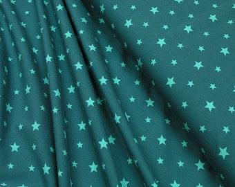 Jersey • Stars  • turquoise on petrol • Cotton Jersey Knit Fabric 0.54yd (0,5m) 002737