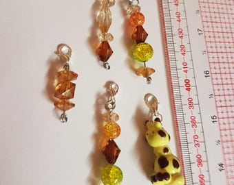 5 one of a kind giraffe crochet/ knitting stitch markers, charms