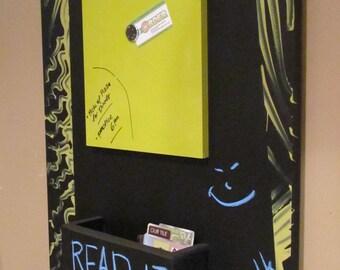 Vertical Magazine Organizer Chalkboard with Magnetic DryErase Board Chalk Ledge Hooks