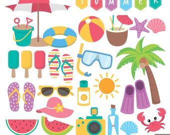 Summer Beach Digital Clipart