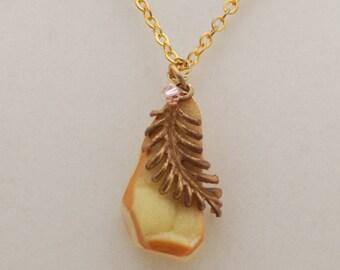 Yellow Druzy Brass Leaf Necklace Reduced Price
