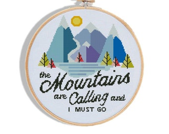 Mountains are calling and i must go cross stitch forest explorer geometric baby tree landscape - Cross Stitch Pattern (Digital Format - PDF)