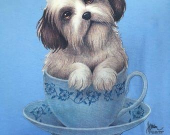 Wake Up & Smell The Coffee with cute puppy in teacup T Shirt